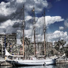 Barsolona Harbor by Vicki Overman - Transportation Boats ( harbor, ship, ship harbor, barsolons, barsolona harbor, sail boat )