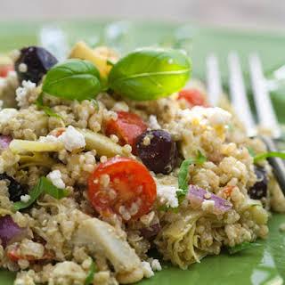 Artichoke And Pesto Mediterranean Quinoa Salad.