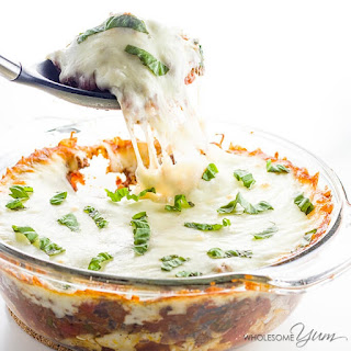 Low Carb Cauliflower Casserole with Beef Marinara (Gluten-free).