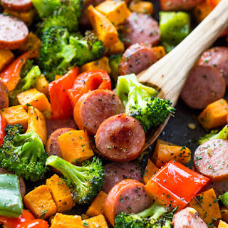 Healthy 20 Minute Sheet Pan Sausage and Veggies.