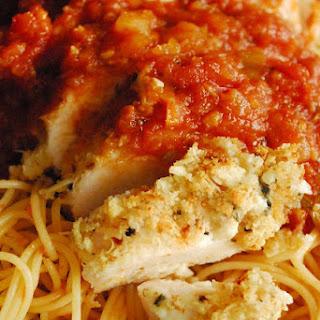 Ricotta Parmesan Chicken over Spaghetti.