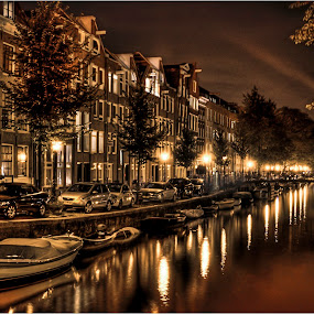 Amsterdam Lights by Mark Shoesmith - City,  Street & Park  Historic Districts ( , color, colors, landscape, portrait, object, filter forge, city, night )