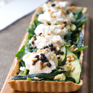 Zucchini & Spinach Tart w/ Whipped Ricotta & Rum Soaked Currants