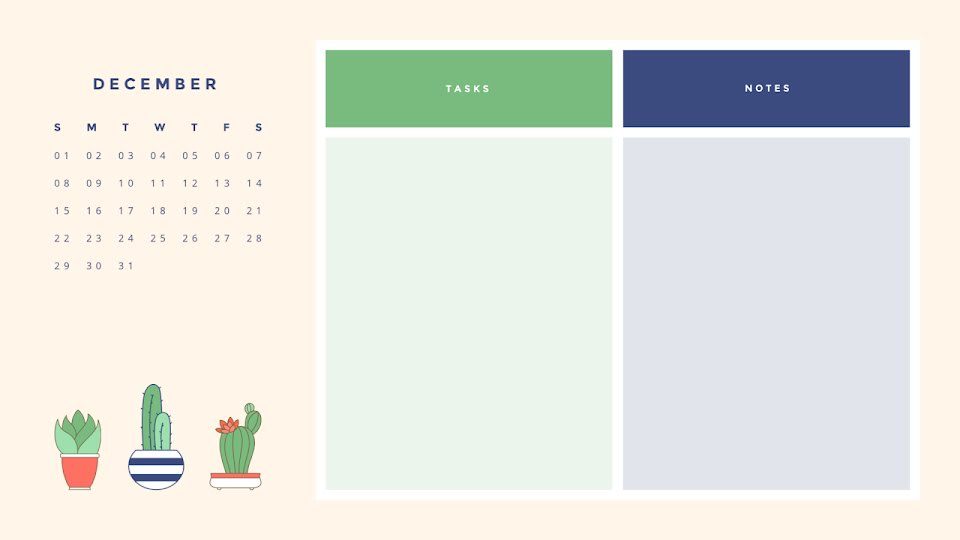Cactus Monthly - Calendar Template