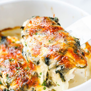 Spinach Chicken Casserole with Cream Cheese and Mozzarella.