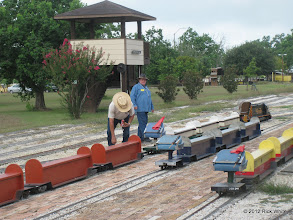 Photo: Art Morris and Pete Greene getting the car sets ready.  HALS 2012-0818 Rick White Photo