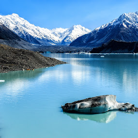 Mt Cook and Tasman glacier by Cora Lea - Landscapes Mountains & Hills (  )