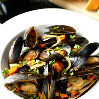 Mussels with Sun-Dried Tomatoes and Chorizo.