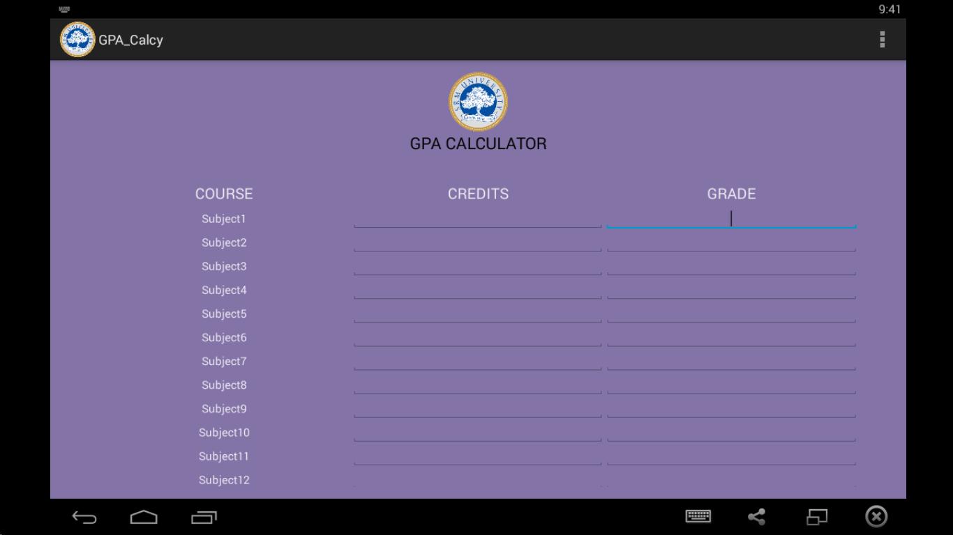 Srmites Gpa Calculator Screenshot