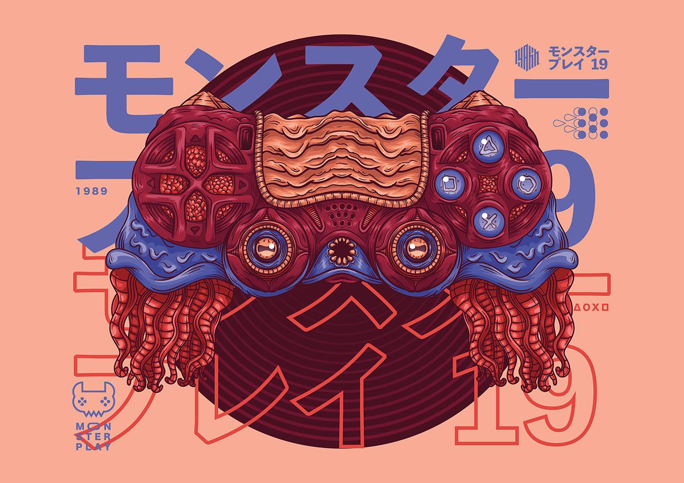 ILLUSTRATION  digitalart poster print monster gamepad xbox playstation Nintendo Lyakh