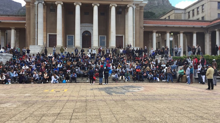 Thursday's mass meeting of UCT students. Picture: PETRU SAAL
