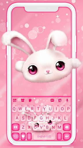 White Cute Bunny Keyboard Background screenshot 1