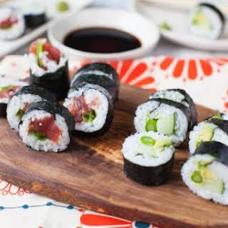 Vegetable and Spicy Tuna Maki.