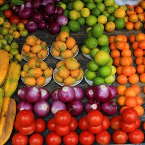 Fruit and Vegetable Market in Otavalo by Robert Hamm - Food & Drink Fruits & Vegetables ( otavalo, onions, lemons, fruit, ecuador, papaya, tomato, colorful, oranges, pepper, market, color, fresh, food, outdoor, vegetable,  )