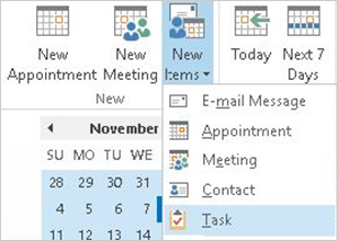 Create a task in 2013 version