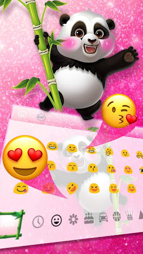 Adorable Pink Glitter Panda Keyboard Theme for PC