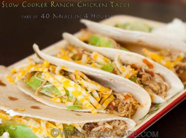 Slow Cooker Ranch Chicken Tacos #whoneedsacape #dinner #slowcooker #chicken #tacos #ranch
