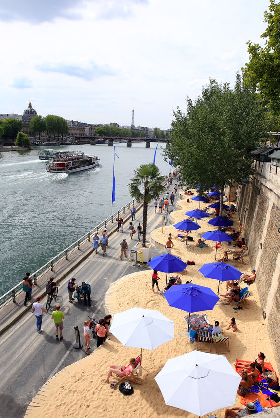 Parts of the banks of the Seine are transformed into beaches in the summer months.