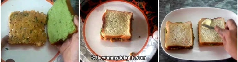 Spreading the potato filling on the bread slice to make aloo sandwich.