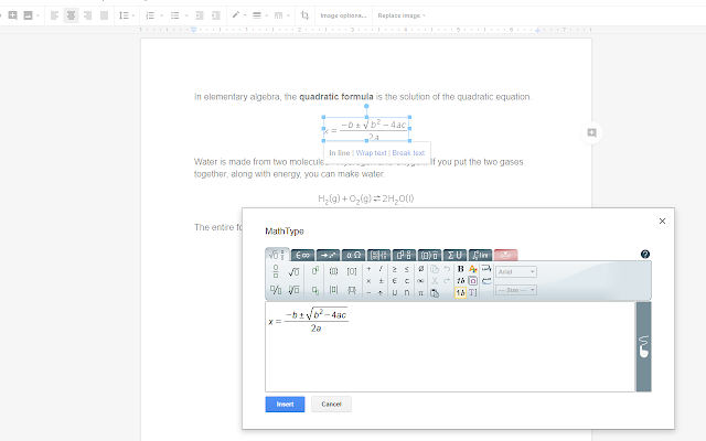 MathType - Google Docs add-on