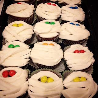 Red Velvet Mummy Cupcakes.