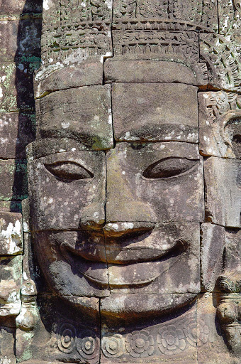 cambodia-statue-carving.jpg - Stone carving of Buddha at Angkor Thom, the walled city of Jayavarman VII. 12th century AD.