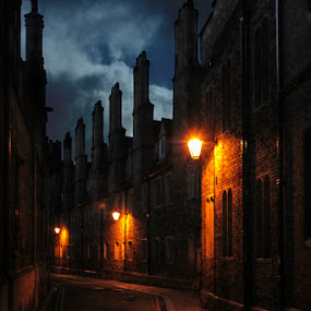 Trinity Lane  by Stephanie Veronique - City,  Street & Park  Street Scenes ( night light, night, town, road, street scene, trinity lane, alone, cambridge, city,  )