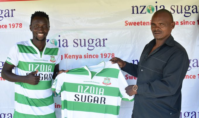 Defender Kevin Maliachi when he was unveiled by team manager John Muraya