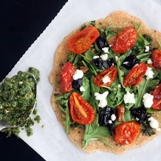 Socca Pizza with Basil Arugula Pesto