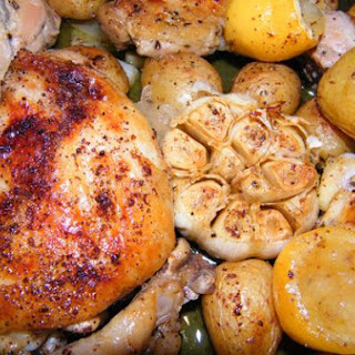 Greek Lemon Chicken With Roasted Garlic and Potatoes