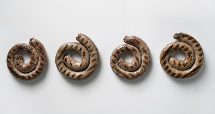 From left: Boerewors from Checkers, Pick n Pay, SPAR and Woolworths.