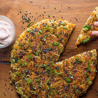 Scallion Pancake Latke with Asian Pear-Apple Sauce