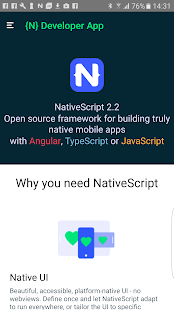 NativeScript Developer App- screenshot thumbnail