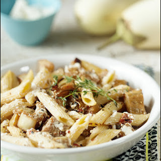 Penne with Eggplant, Thyme and Goat Cheese.