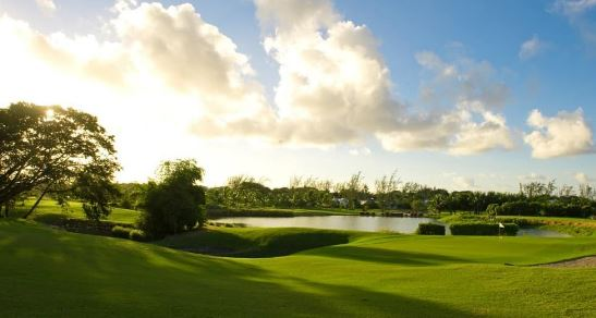 a picture of the fairway and green on a hole at barbados golf club