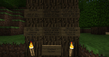 Photo: Treebor was originally a massive Christmas tree.  When the code changed to cause leaves to decay if they weren't directly attached to wood, the tree died (along with my hedge maze).  Ben converted it into TREEBOR.