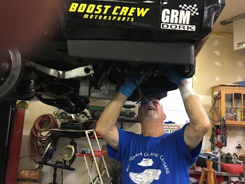 Dad finishing up the additional transmission cooler install