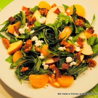 Collards and Mustard Greens Salad with  Bacon Vinaigrette.