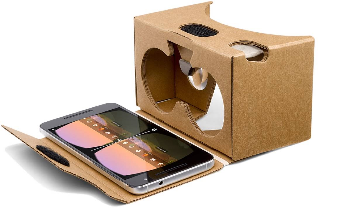 An open Google Cardboard shows how to place a mobile phone inside the viewer to enjoy VR mode in the Expeditions app as a 3D experience.