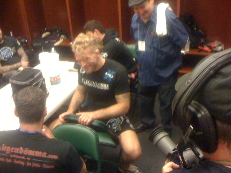 Photo: Before the fights, we would go into the locker rooms and shoot b-roll of the fighters getting taped up and preparing.