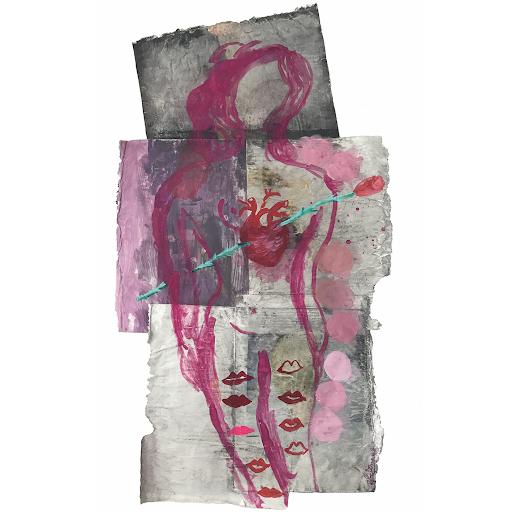 parce-qu-ils-n-ont-pas-de_coeur_sophie_lormeau_peinture_papier_magazine_technique_mixte_art_contemporain_singulier_artiste_femme_francaise_organique_rose_tige_epines_lover_alone_melancolie_monde_visible_vs_invidible_dualite_adagp_paris_2020_