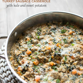 Skillet Farro and Turkey Sausage Casserole with Kale and Sweet Potatoes.