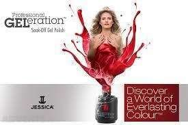 a bottle of nail polish represented to be exploding into a woman in a red dress