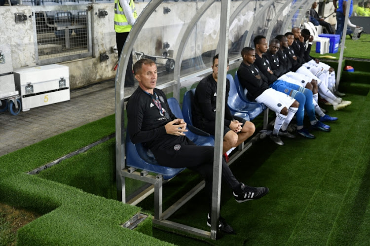 Milutin 'Micho' Sredojevic with players during the CAF Champions League match between Orlando Pirates and Light Stars at Orlando Stadium on November 28, 2018 in Johannesburg, South Africa.