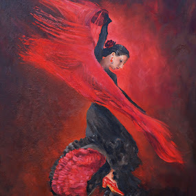 Flamenco in red and black by Margaret Merry - Painting All Painting ( dancing, flamenco, oil on canvas, female, art, oils, andalucia, painting, dance, dancer, spain )