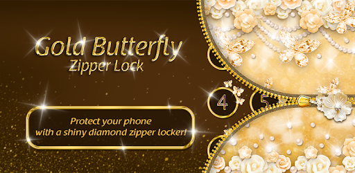 Gold Butterfly Diamond Zipper Lock Apps On Google Play