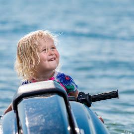 Jet Ski Rider by Andrew Christmann - Babies & Children Child Portraits ( kid, jet ski, blonde, water, lake, sea doo, lilly, jetski, seadoo, child, flash )