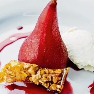 Wine-poached Pears With Gorgonzola Ice-cream
