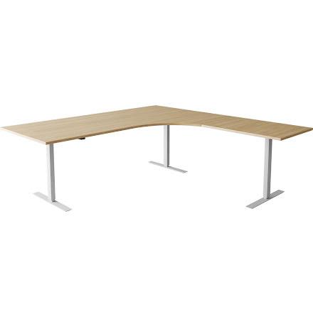 Hörnskrivbord el silver/ek 160