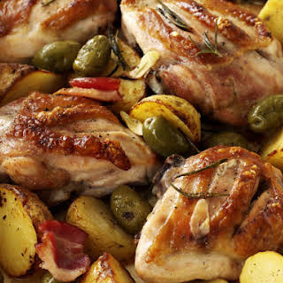 Chicken with Garlic, Potatoes and Rosemary.